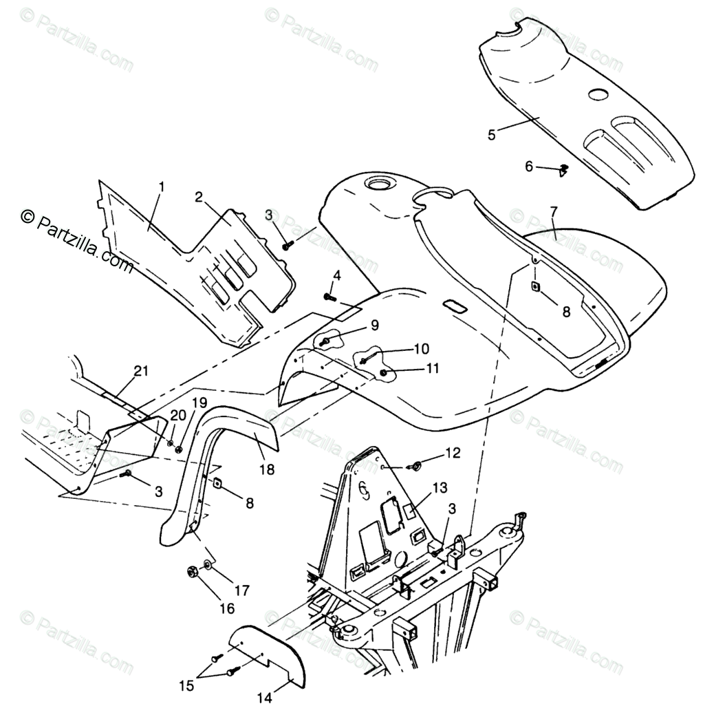 Polaris ATV 1996 OEM Parts Diagram for Front Cab Xplorer