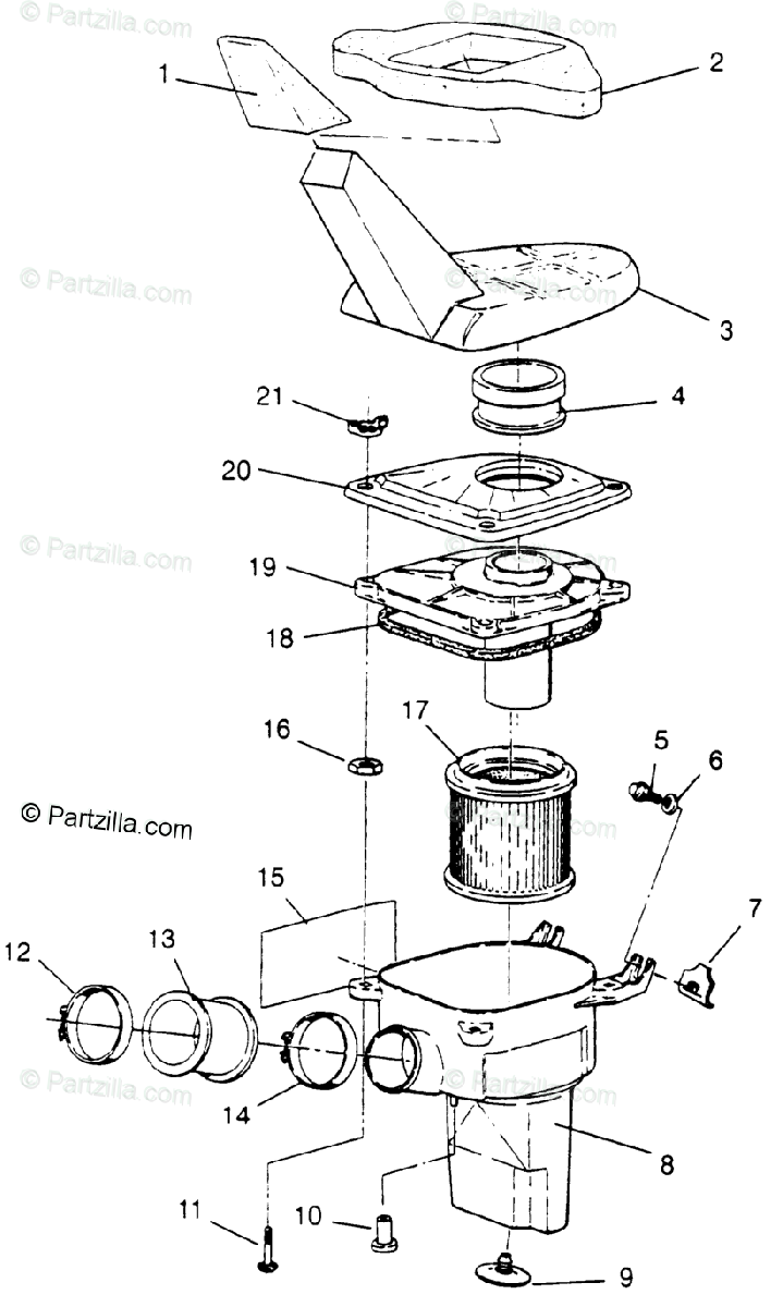 Polaris ATV 1996 OEM Parts Diagram for Air Box Xplorer 300