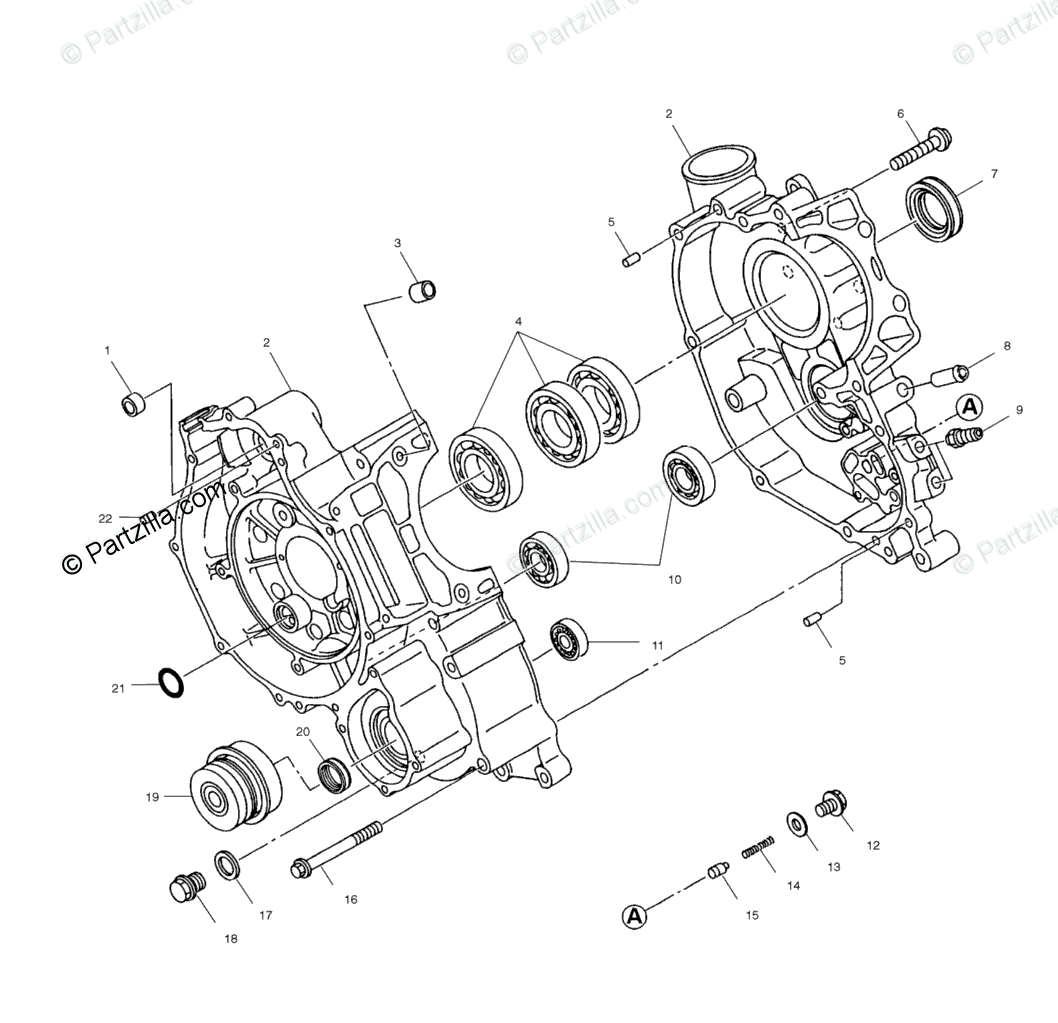 Polaris ATV 1999 OEM Parts Diagram for Crankcase A99ae50da