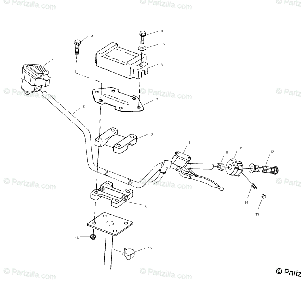 Polaris ATV 2001 OEM Parts Diagram for Steering Handlebar