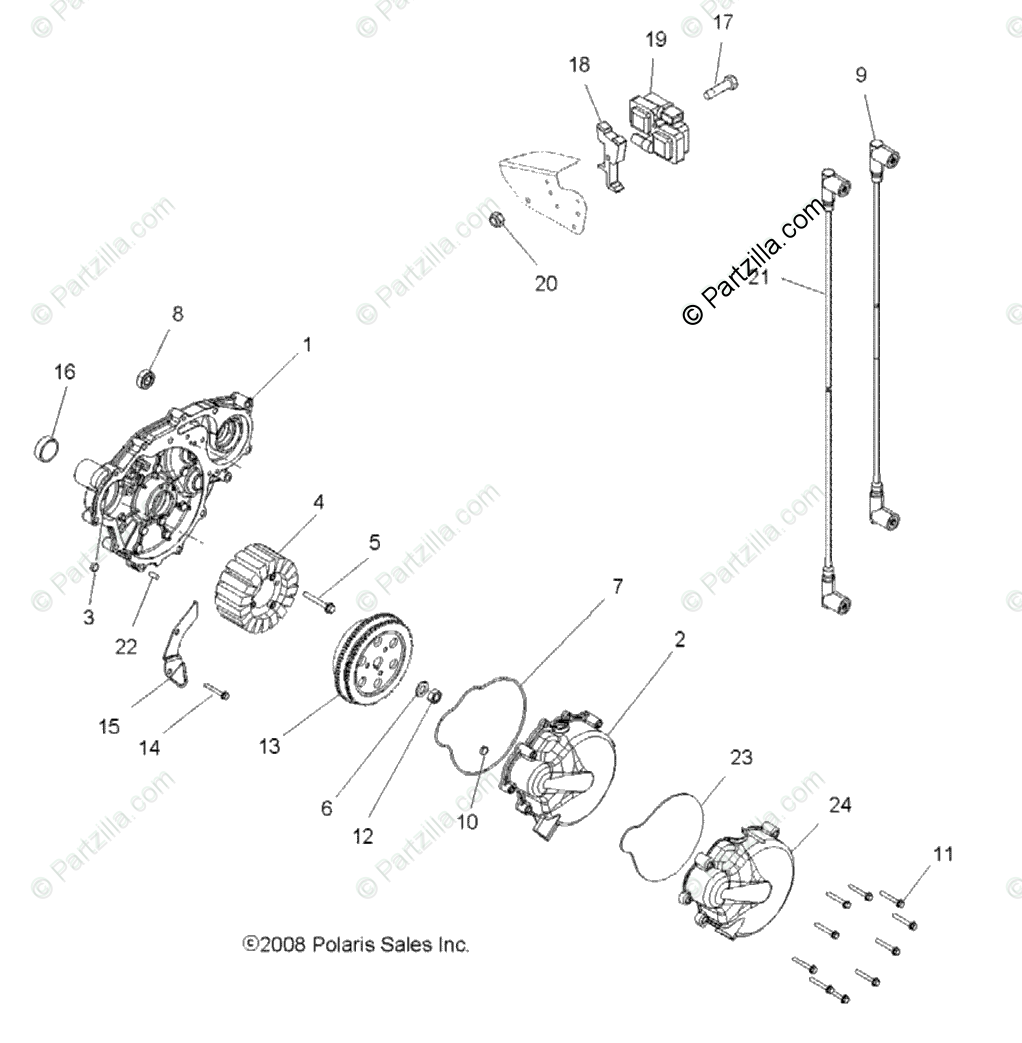 Polaris ATV 2009 OEM Parts Diagram for Electrical