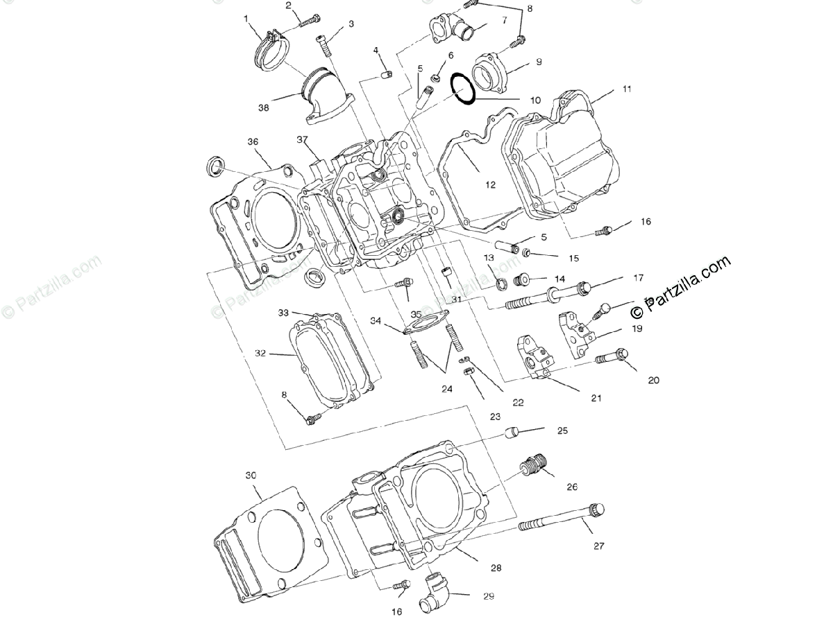 Polaris Atv Oem Parts Diagram For Cylinder