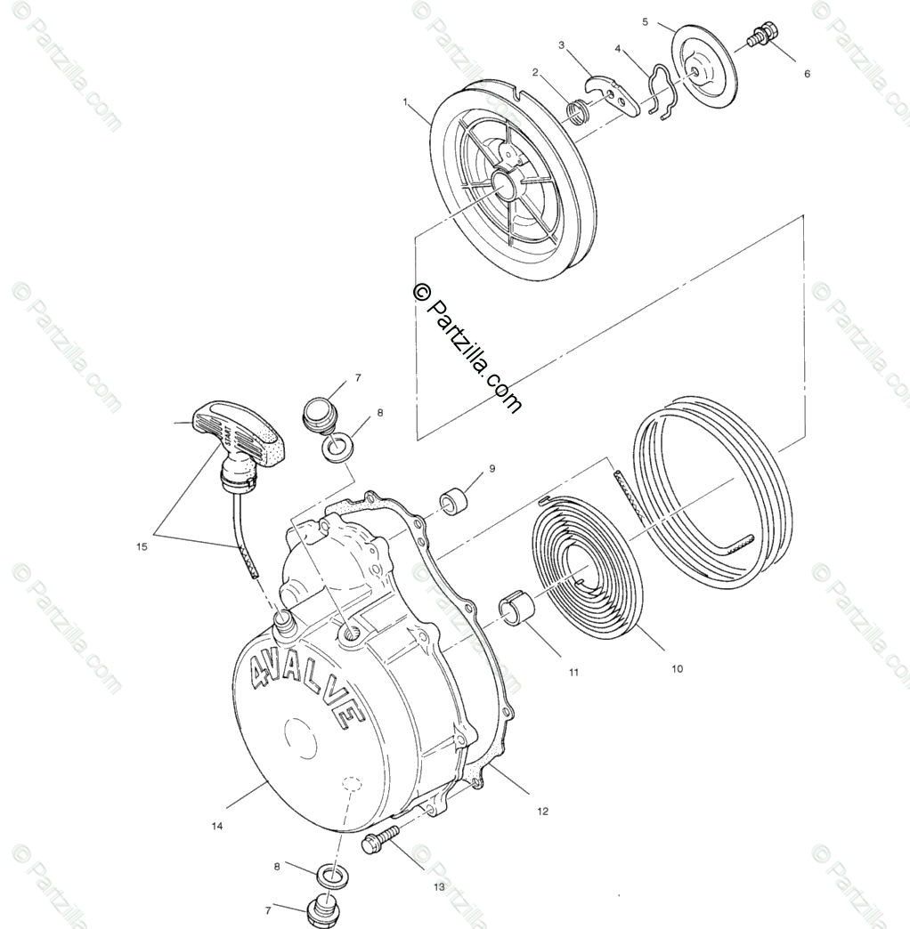 Polaris ATV 1998 OEM Parts Diagram for Recoil Starter