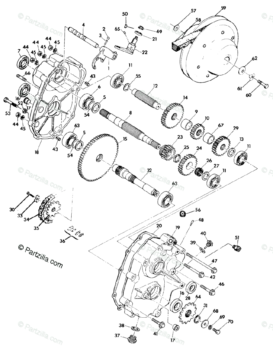 Polaris ATV 1990 OEM Parts Diagram for Gearcase Assembly