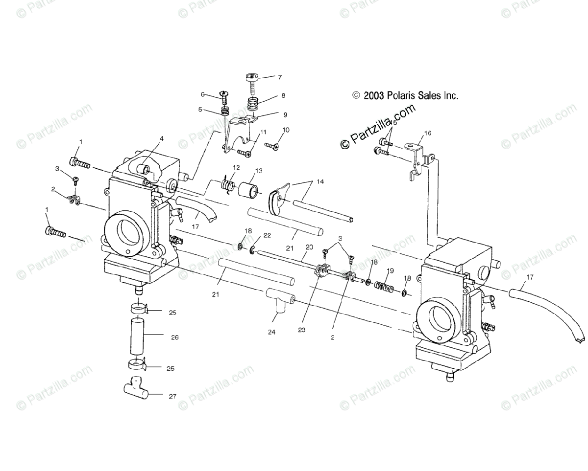 Polaris Snowmobile 2004 OEM Parts Diagram for Carburetor