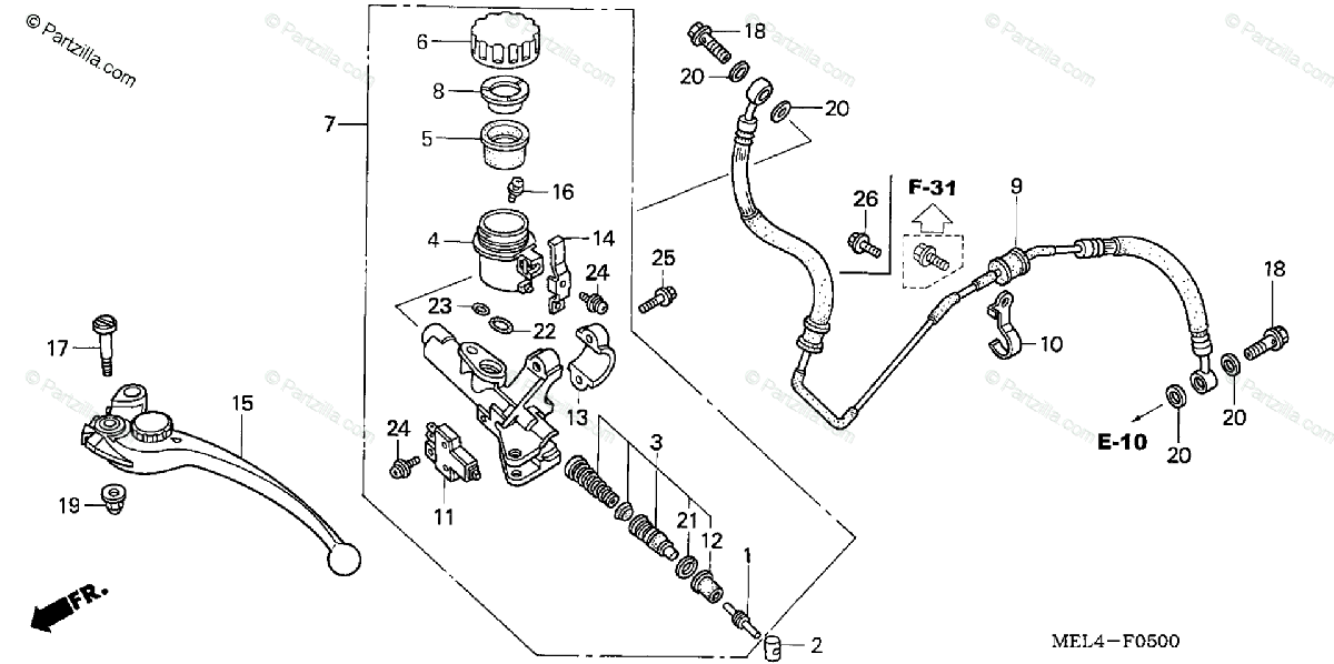 Honda Motorcycle 2005 OEM Parts Diagram for Clutch Master