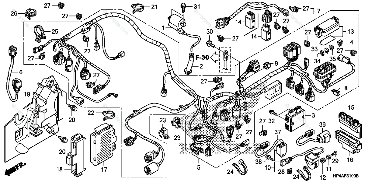 Honda ATV 2010 OEM Parts Diagram for Wire Harness