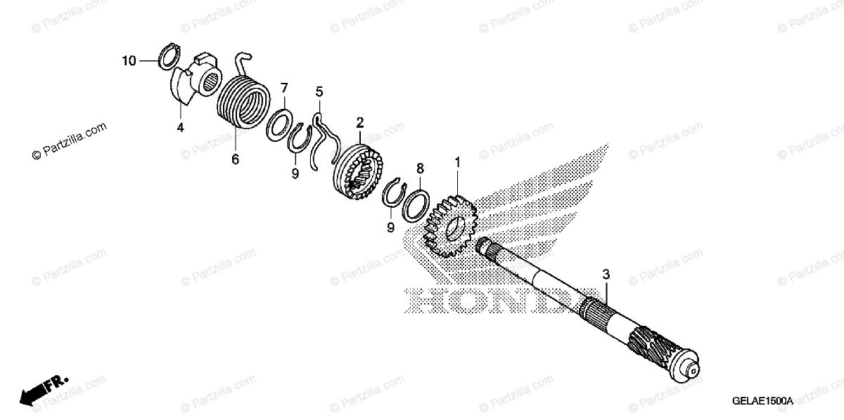 Honda Motorcycle 2005 OEM Parts Diagram for Kick Starter