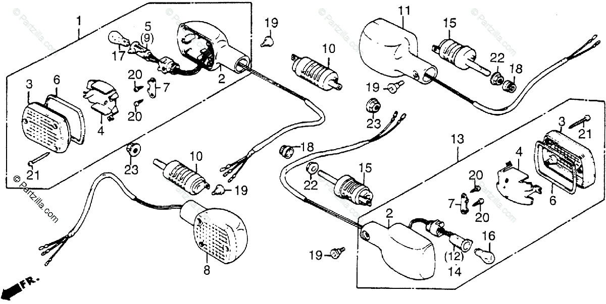 Honda Motorcycle 1984 OEM Parts Diagram for Turn Signal