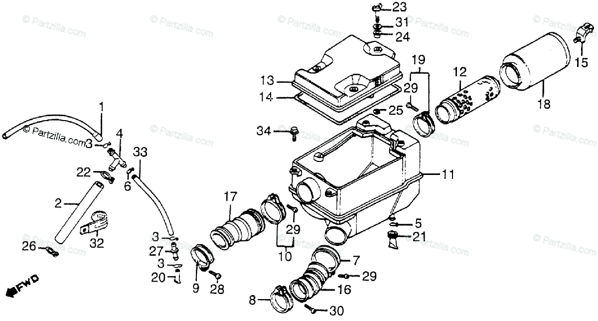 Honda ATV 1985 OEM Parts Diagram for Air Cleaner