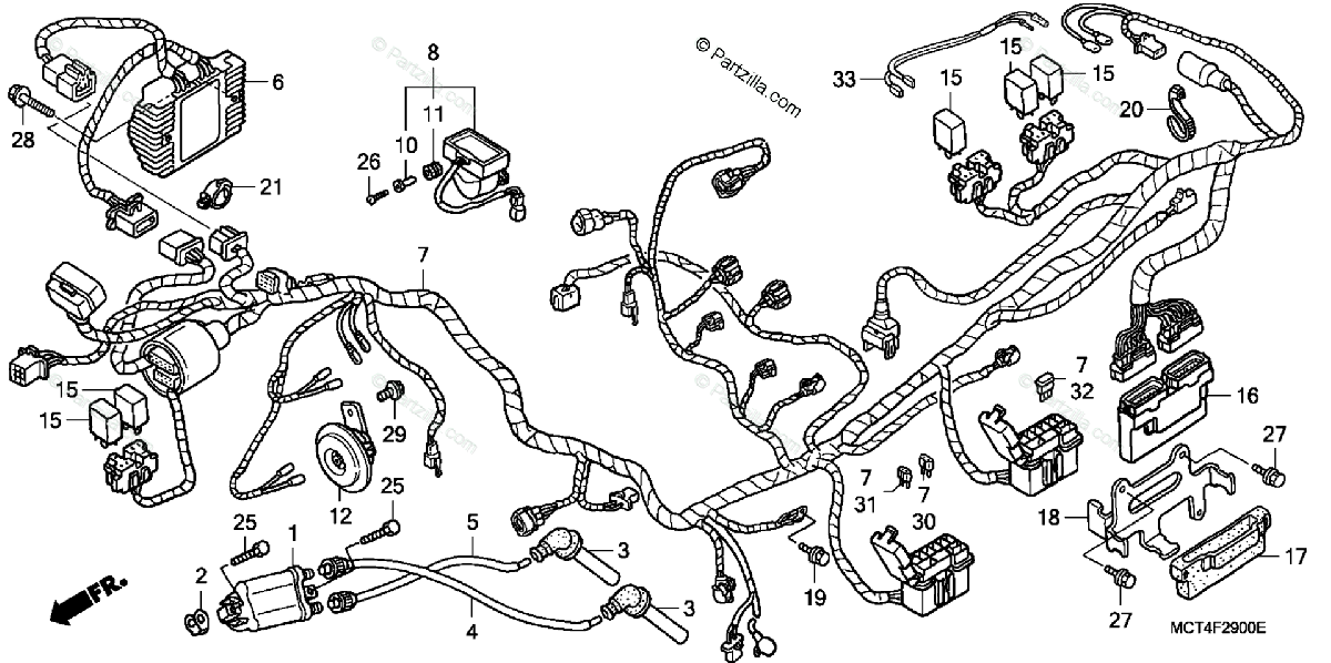 Honda Scooter 2003 OEM Parts Diagram for WIRE HARNESS