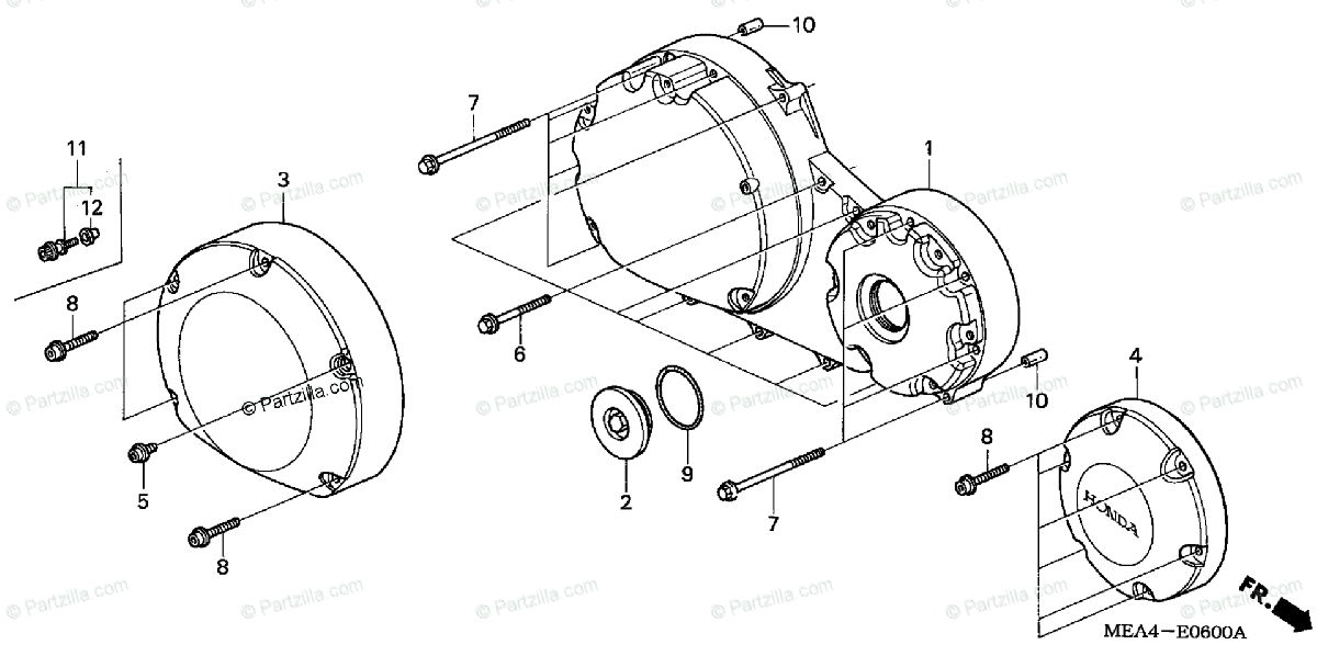 Honda Motorcycle 2004 OEM Parts Diagram for Right