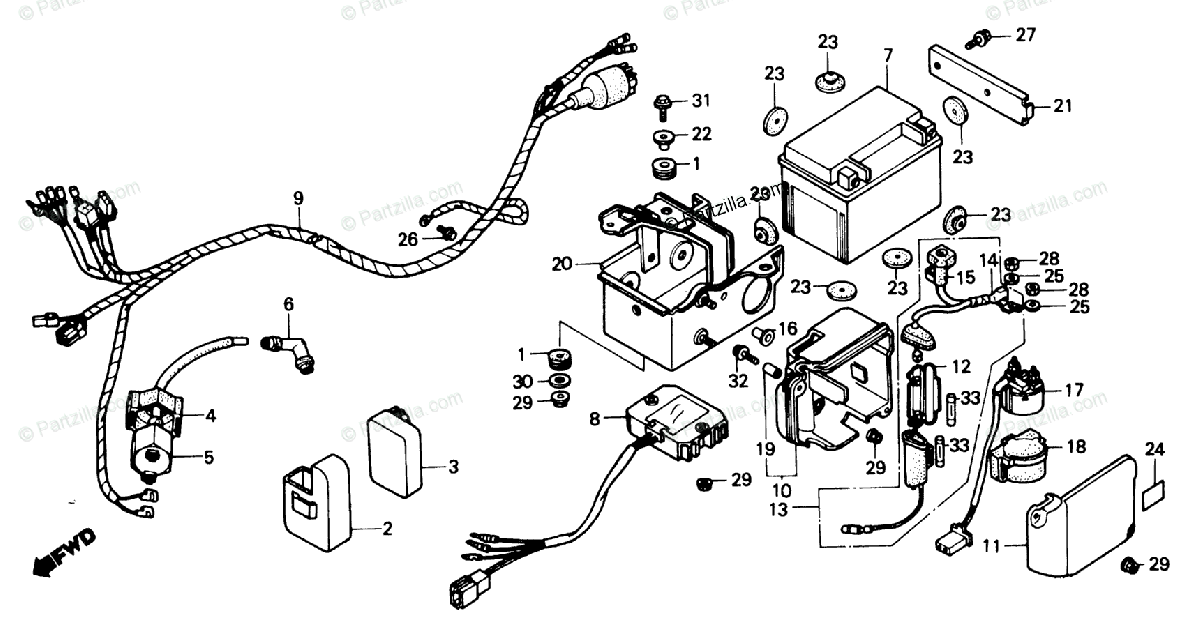 Honda ATV 1987 OEM Parts Diagram for Wire Harness