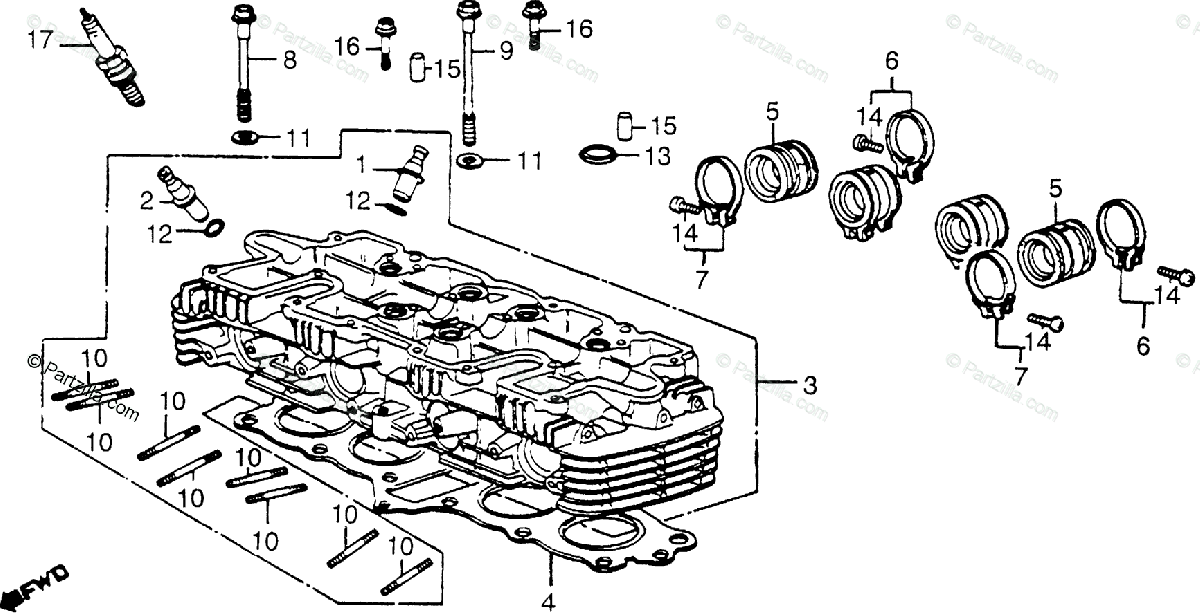 Honda Motorcycle 1979 OEM Parts Diagram for Cylinder Head