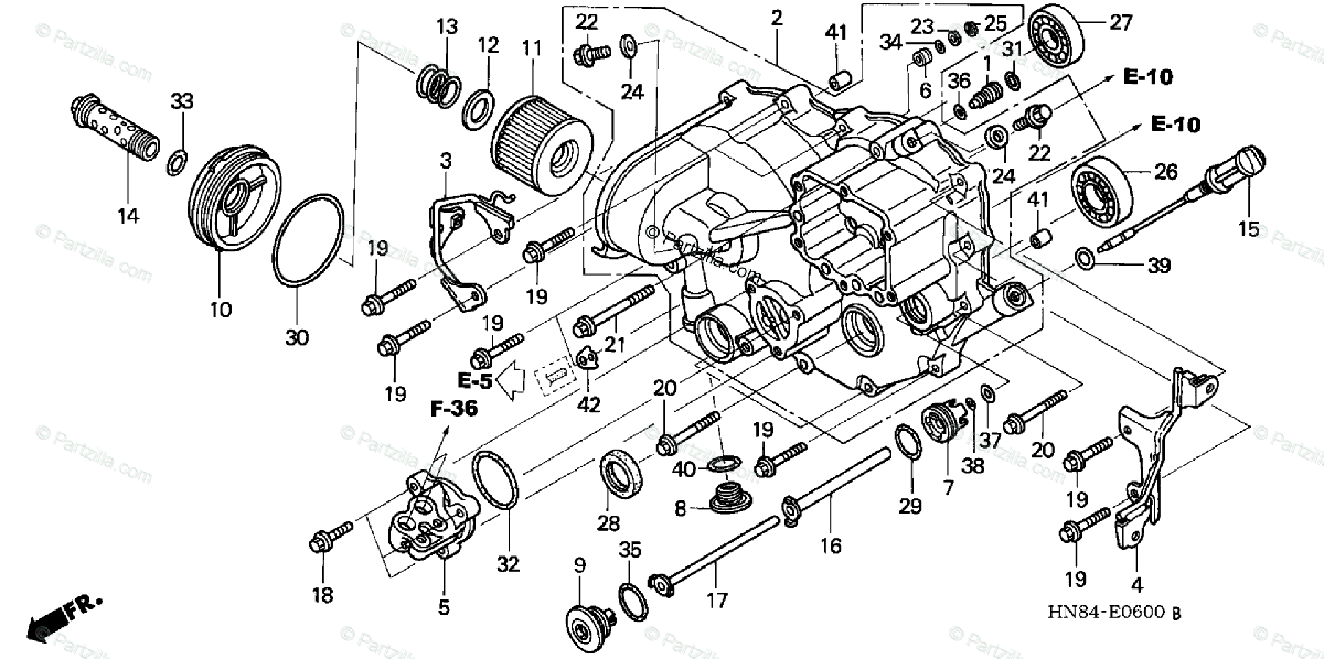 Honda ATV 2005 OEM Parts Diagram for Front Crankcase Cover