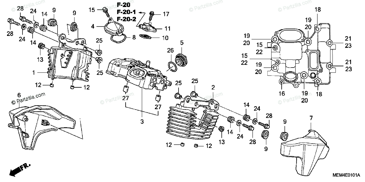 Honda Motorcycle 2004 OEM Parts Diagram for Rear Cylinder