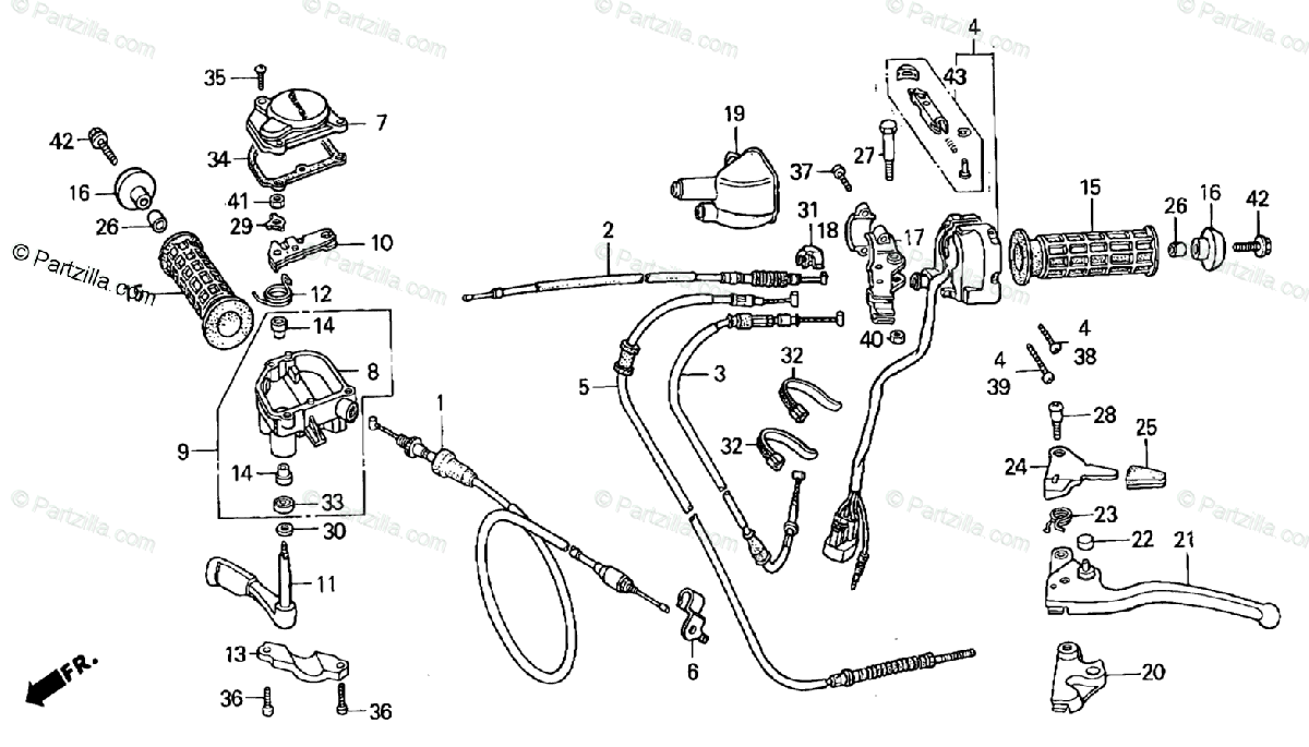 Honda ATV 2001 OEM Parts Diagram for Handle Switch Cables