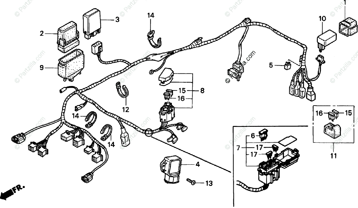 Honda Motorcycle 1998 OEM Parts Diagram for Wire Harness