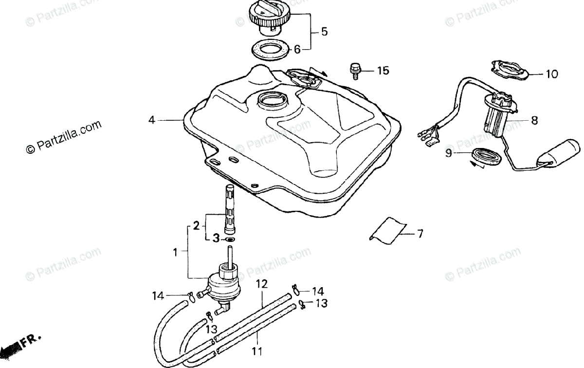 Honda Scooter 2001 OEM Parts Diagram for Fuel Tank