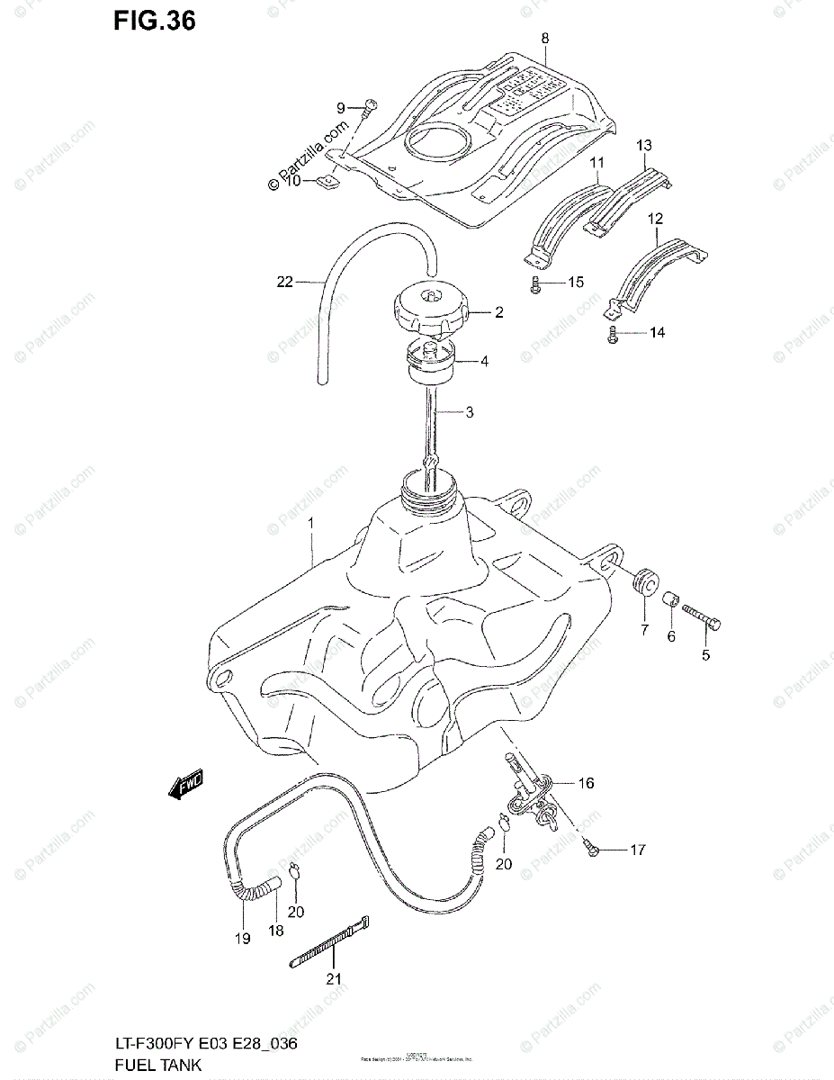Suzuki ATV 2001 OEM Parts Diagram for Fuel Tank