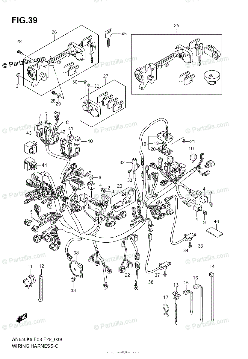 Suzuki Scooters 2006 OEM Parts Diagram for Wiring Harness