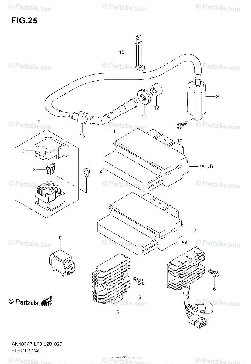 Suzuki Scooter 2007 OEM Parts Diagram for Electrical