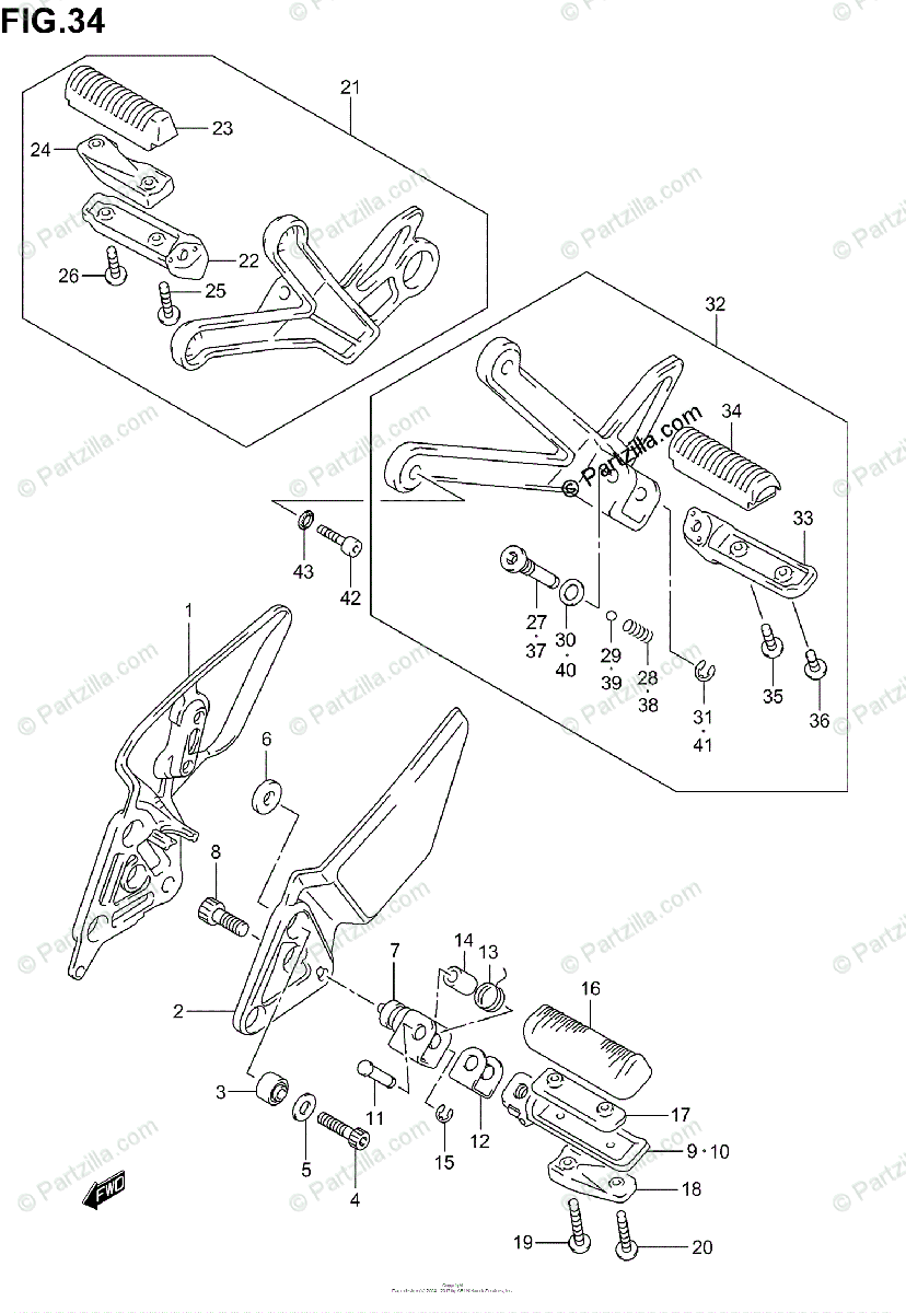 Suzuki Motorcycle 2002 OEM Parts Diagram for Footrest