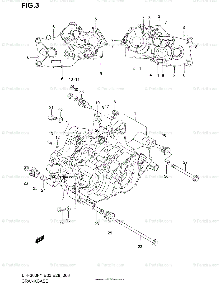 Suzuki ATV 1999 OEM Parts Diagram for Crankcase