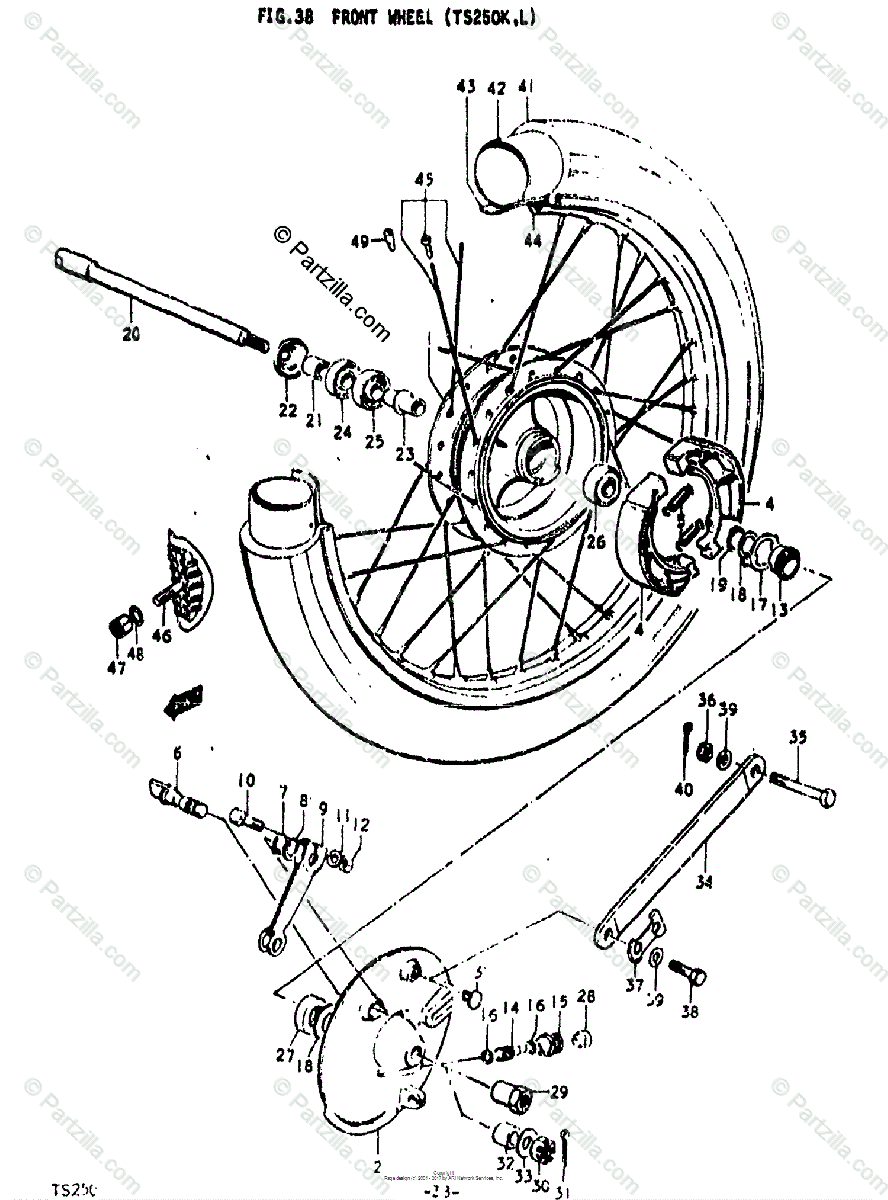 Suzuki Motorcycle 1976 OEM Parts Diagram for FRONT WHEEL