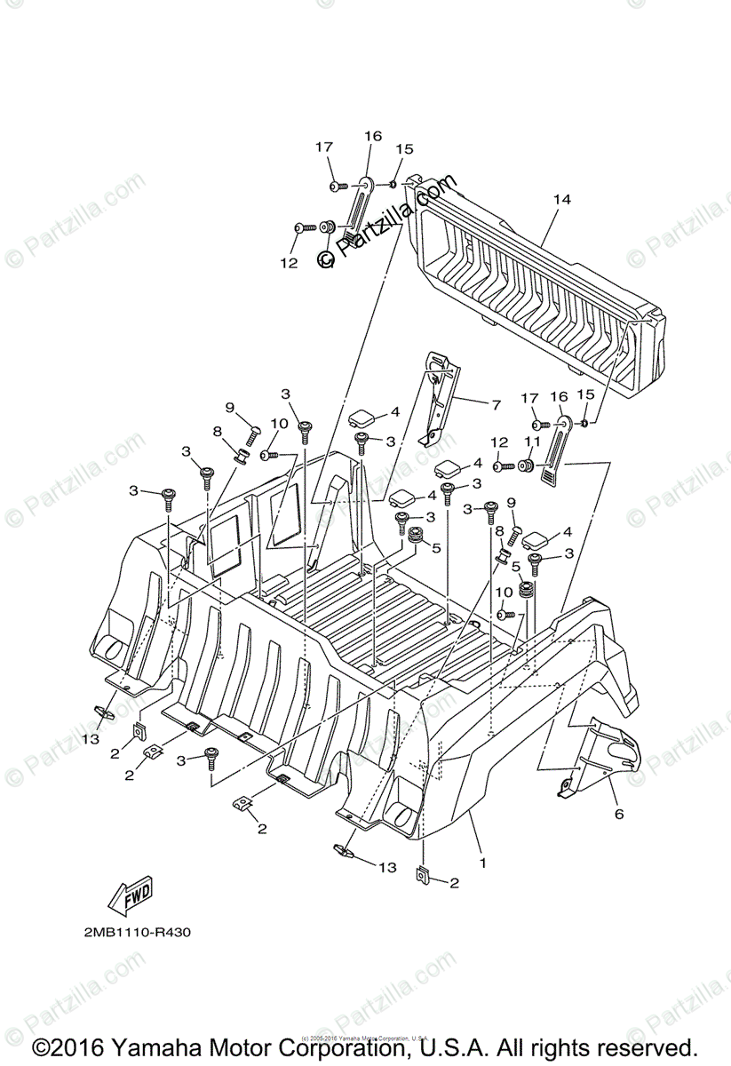 Yamaha Side by Side 2016 OEM Parts Diagram for Carrier