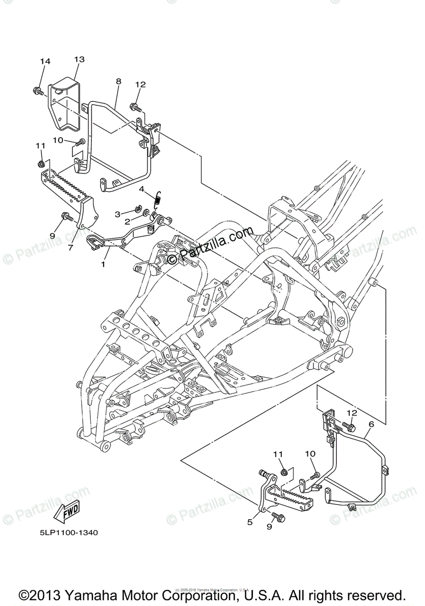 Yamaha ATV 2003 OEM Parts Diagram for Stand/footrest