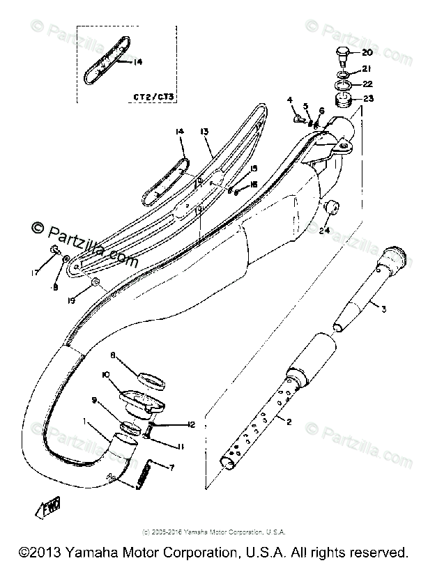 Yamaha Motorcycle 1973 OEM Parts Diagram for Exhaust