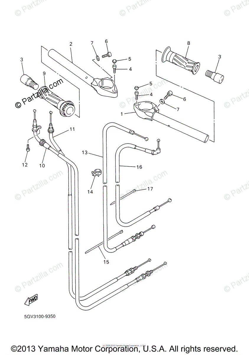 Yamaha Motorcycle 2000 OEM Parts Diagram for Steering