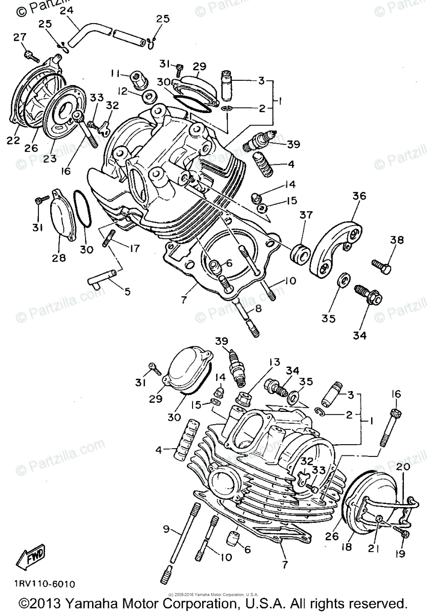 Yamaha Motorcycle 1994 OEM Parts Diagram for Cylinder Head