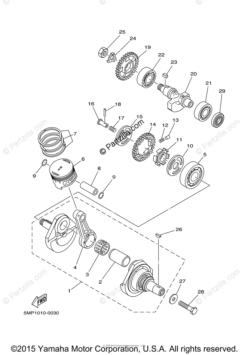Yamaha Motorcycle 2007 OEM Parts Diagram for Crankshaft