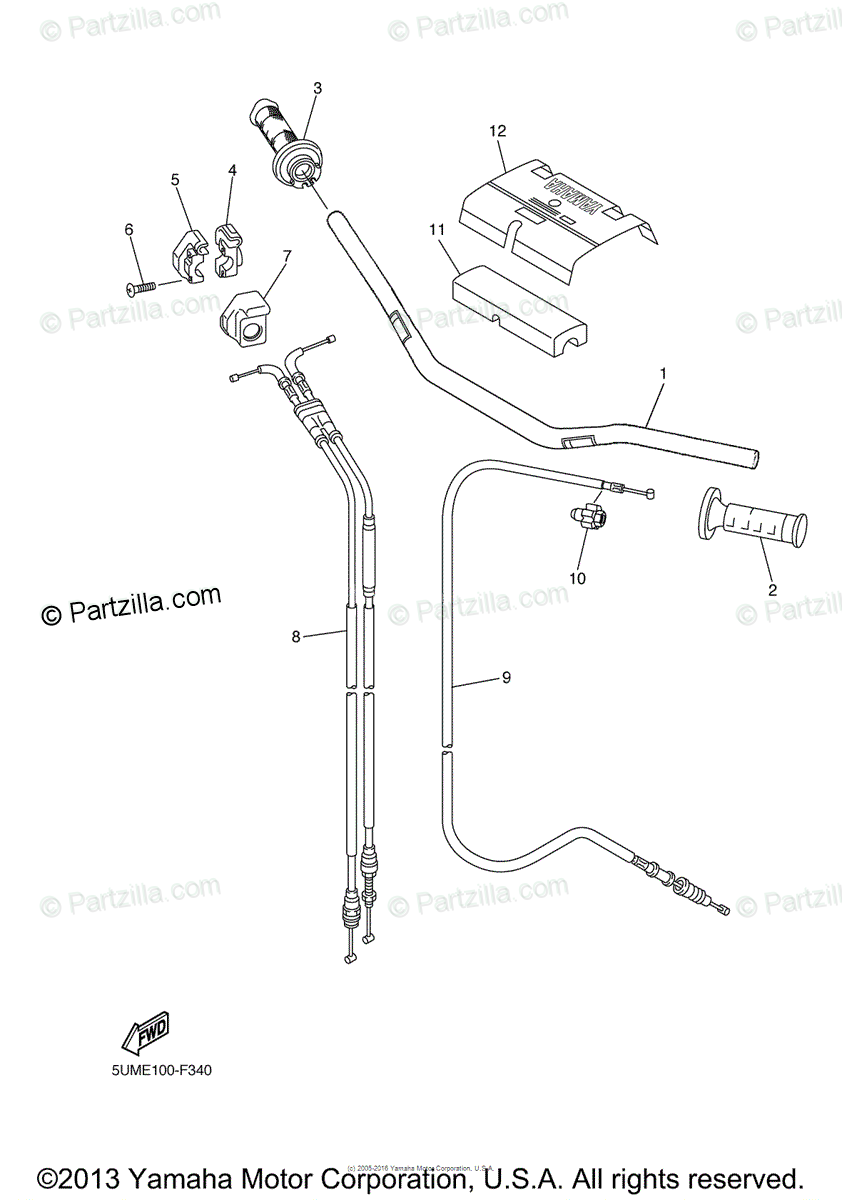 Yamaha Motorcycle 2009 OEM Parts Diagram for Steering