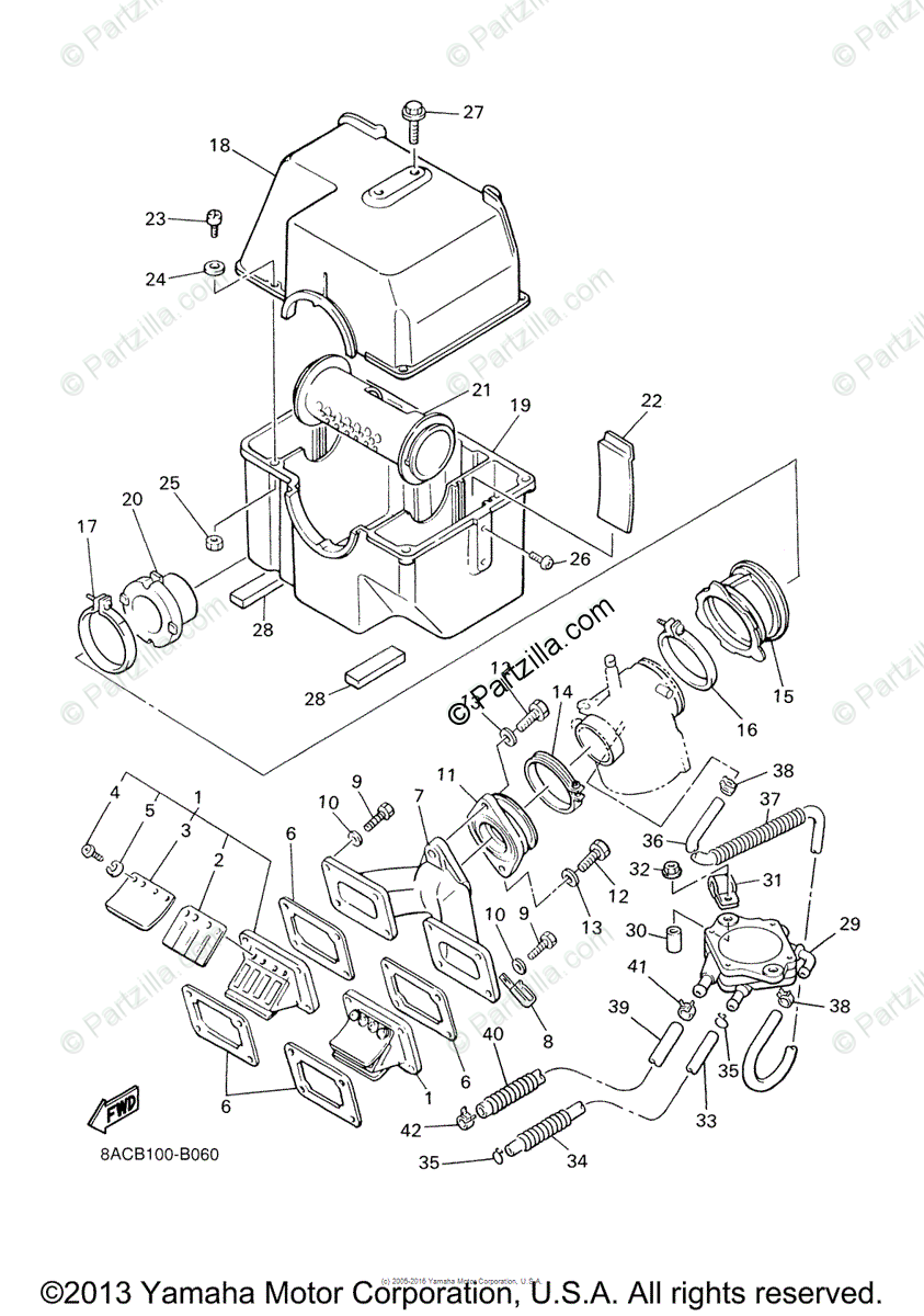Yamaha Snowmobile 2005 OEM Parts Diagram for Intake