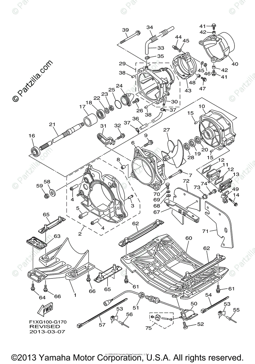 Yamaha Waverunner 2008 OEM Parts Diagram for Jet Unit 1