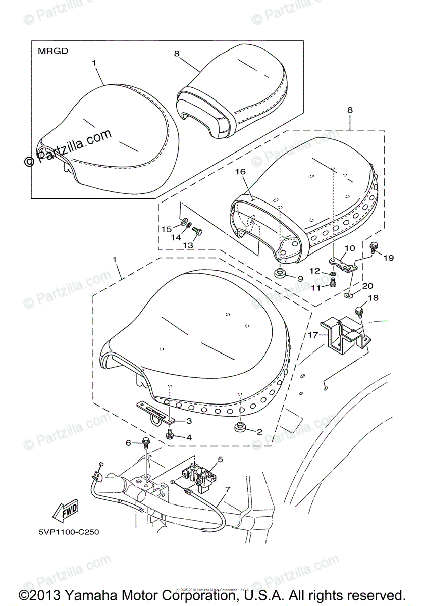 Yamaha Motorcycle 2004 OEM Parts Diagram for Seat