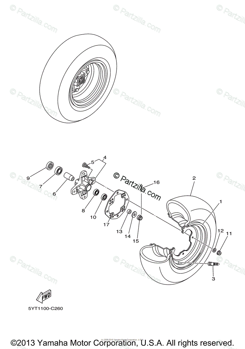 Yamaha ATV 2005 OEM Parts Diagram for Front Wheel
