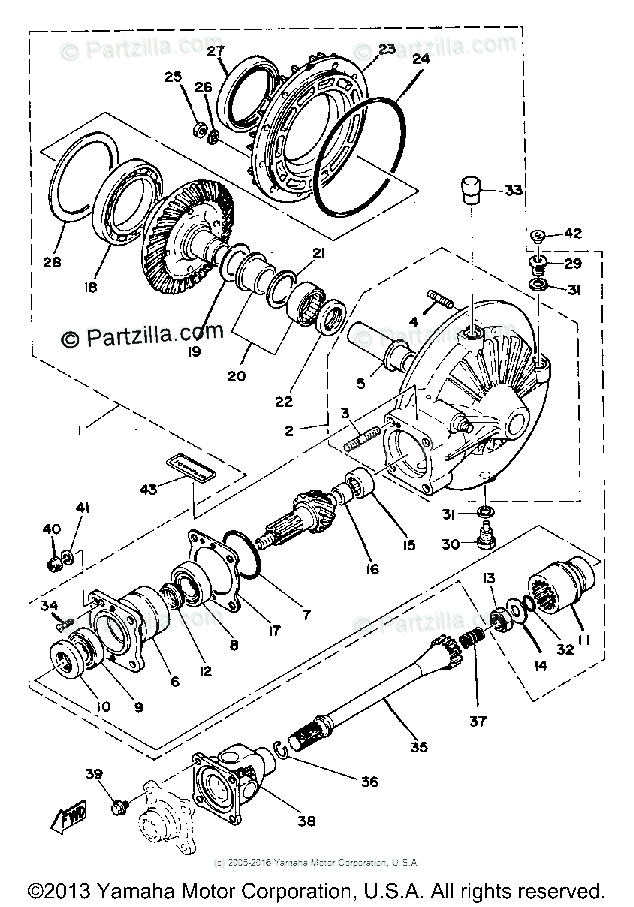 Yamaha Motorcycle 1980 OEM Parts Diagram for Drive Shaft