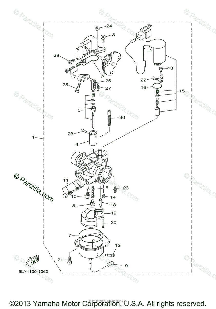 Yamaha Scooter 2002 OEM Parts Diagram for Carburetor