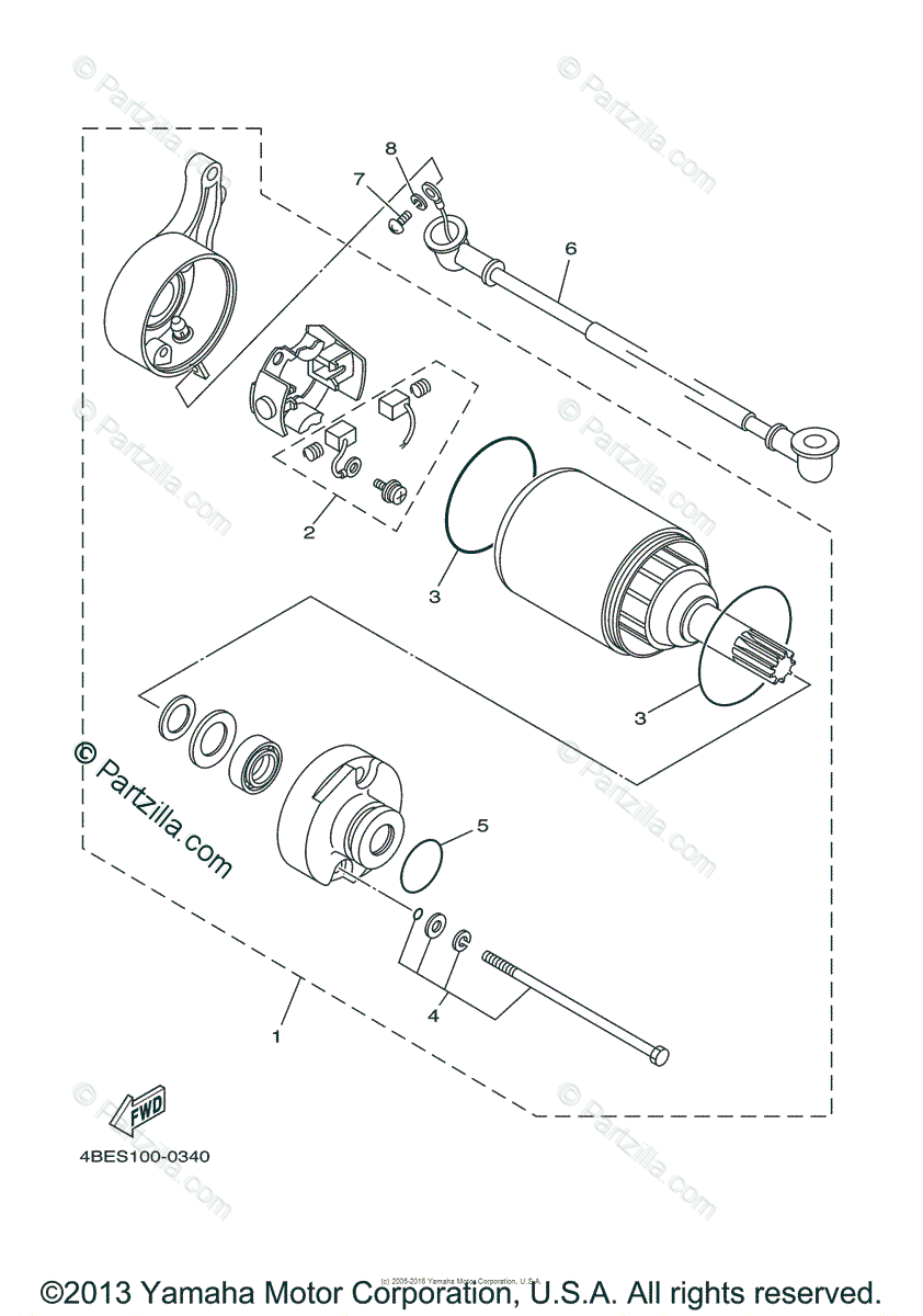 Yamaha Motorcycle 2000 OEM Parts Diagram for Starting
