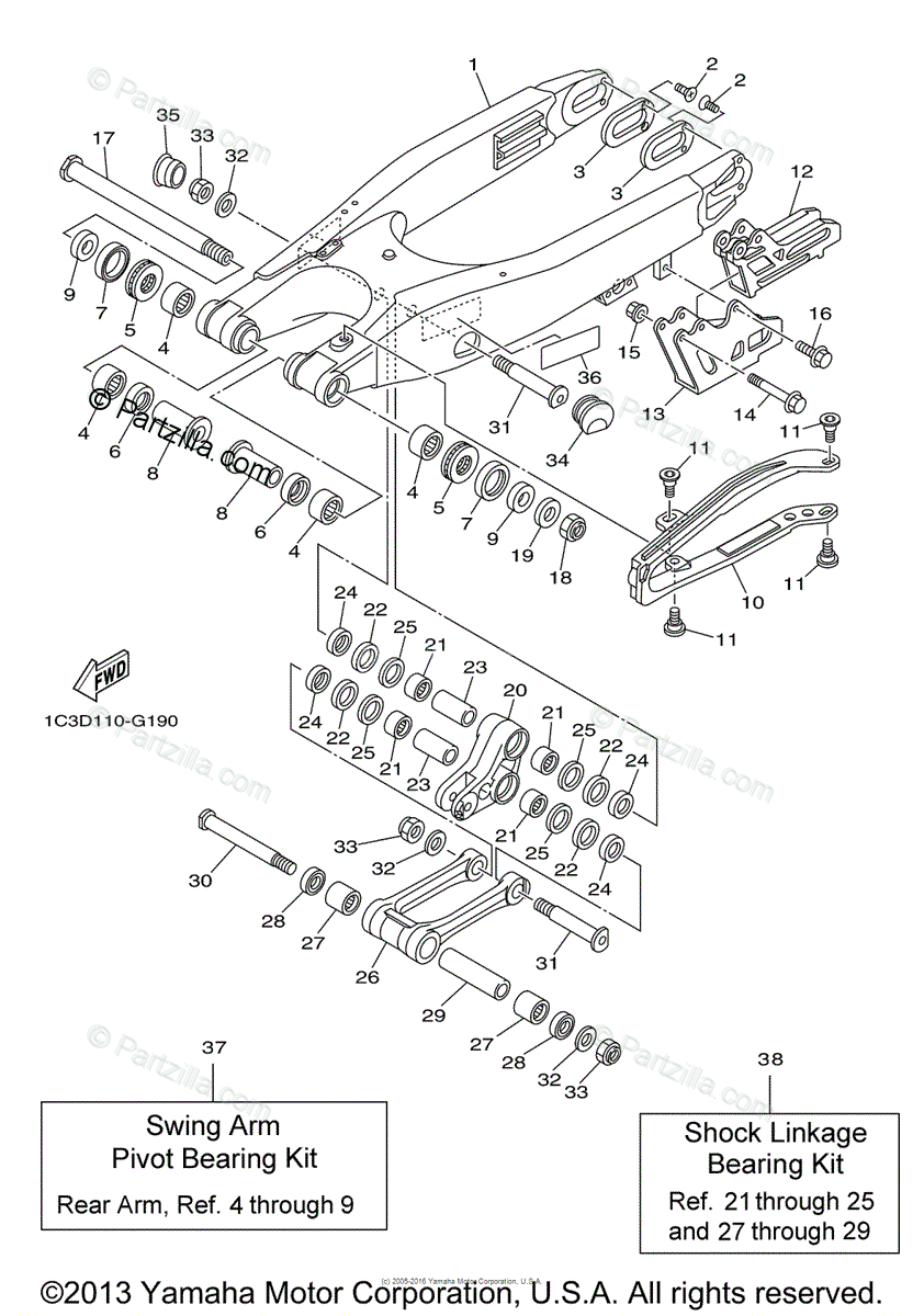 Yamaha Motorcycle 2009 OEM Parts Diagram for Rear Arm