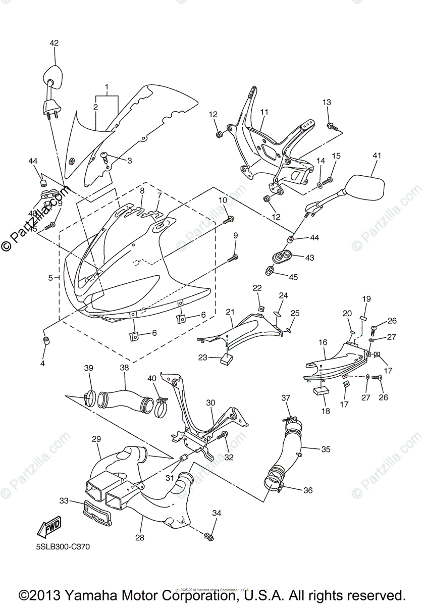 Yamaha Motorcycle 2005 OEM Parts Diagram for Cowling 1