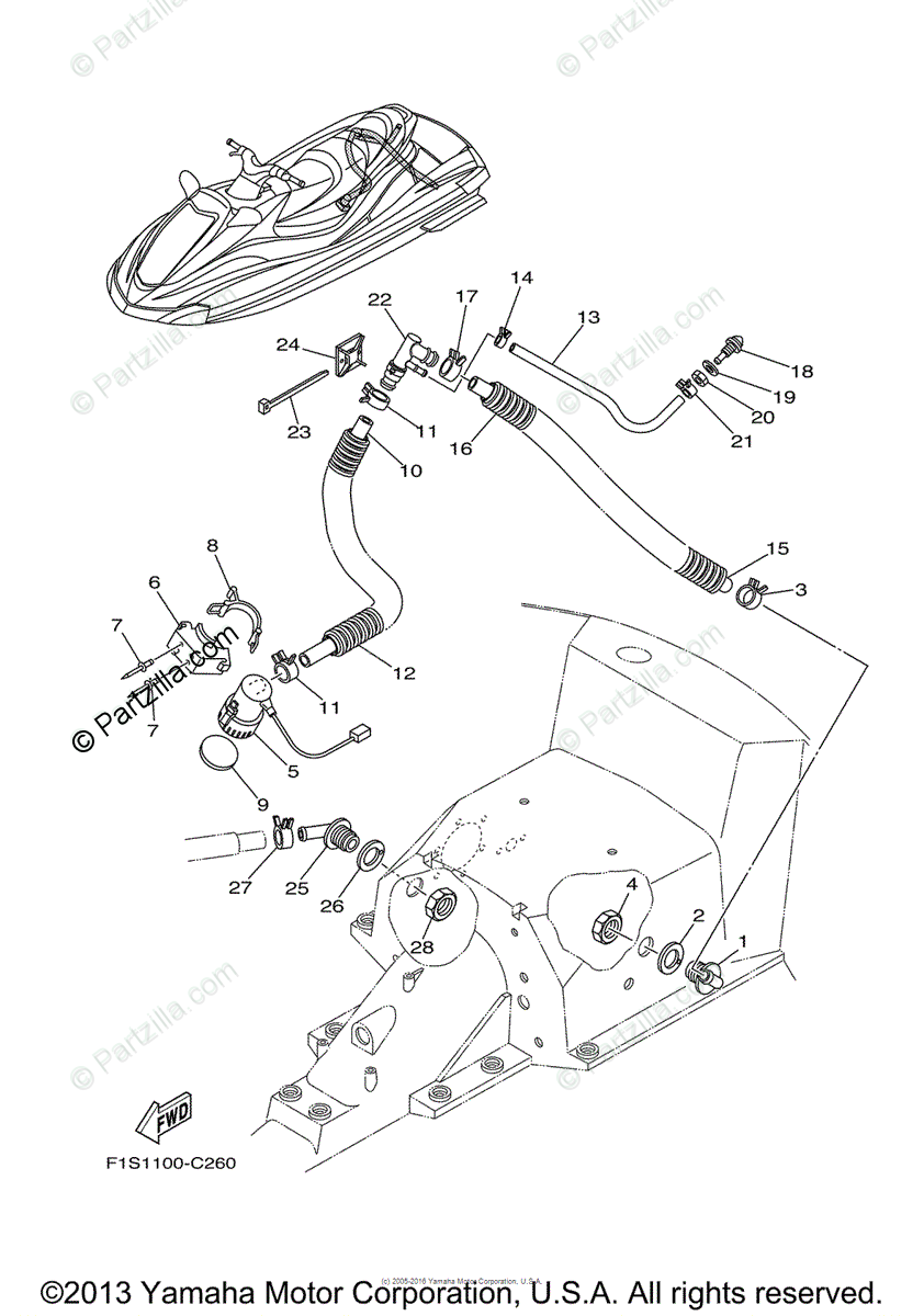 Yamaha Waverunner 2005 OEM Parts Diagram for Bilge Pump