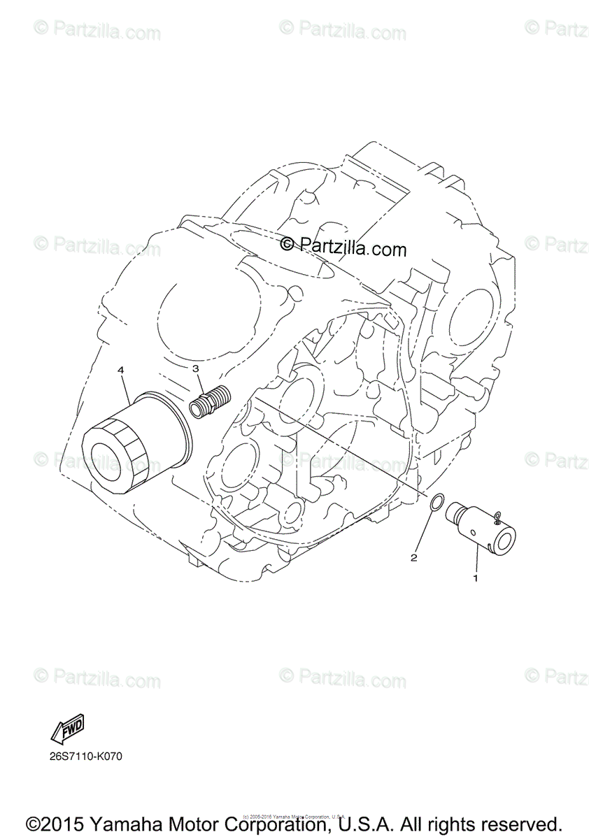 Yamaha Motorcycle 2015 OEM Parts Diagram for Oil Cleaner