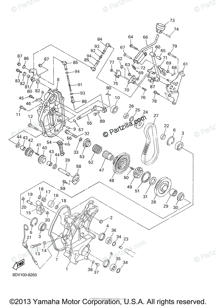 Yamaha Snowmobile 2000 OEM Parts Diagram for Track Drive 2