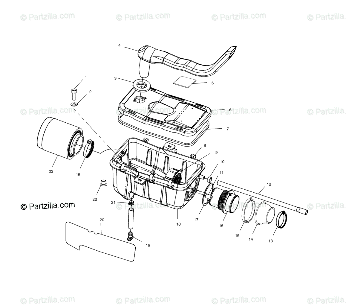 Polaris ATV 2002 OEM Parts Diagram for Air Box A02cd32aa