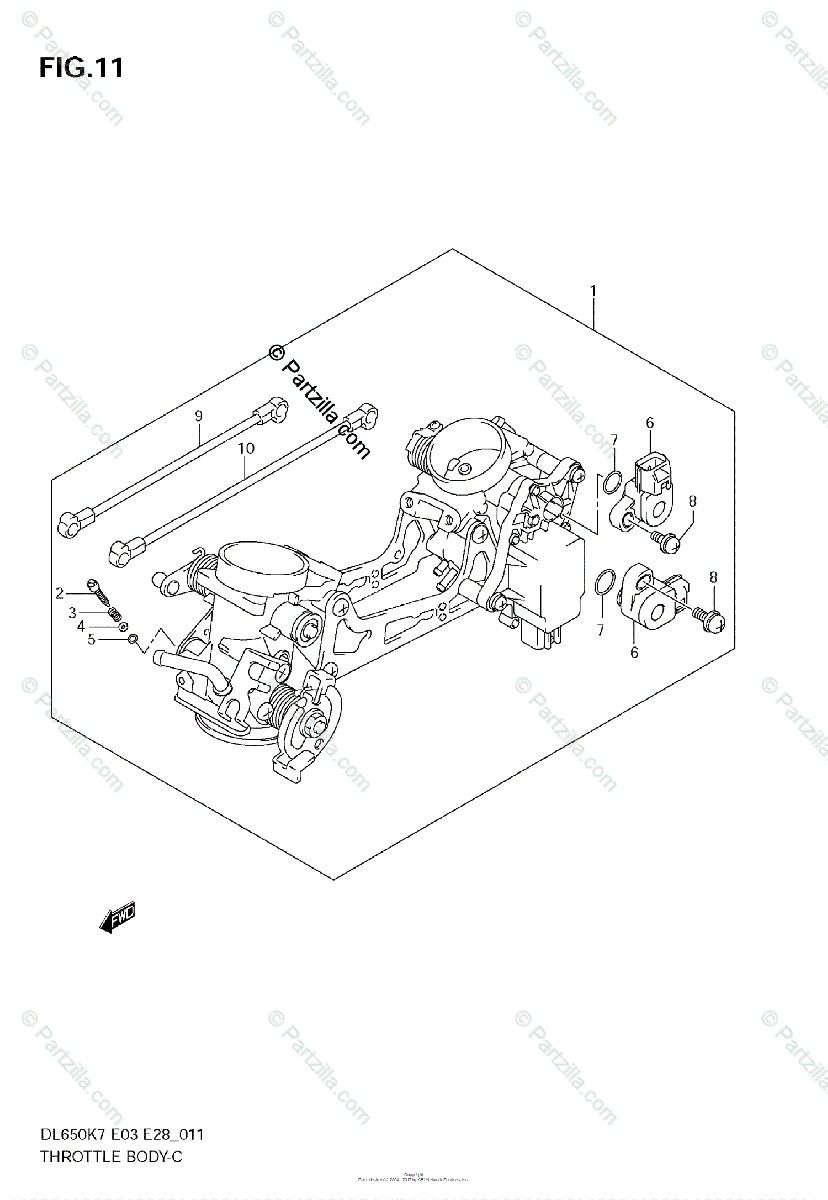 Suzuki Motorcycle 2008 OEM Parts Diagram for Throttle Body